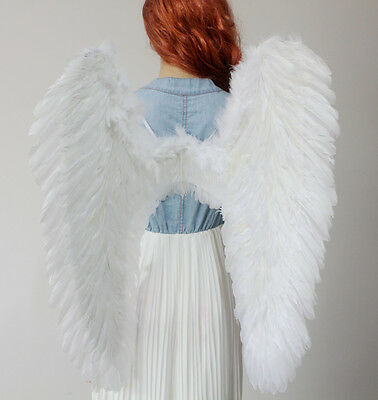 Halloween EXTRA LARGE White Feather Angel Wing Photo Props adult  Women Costume