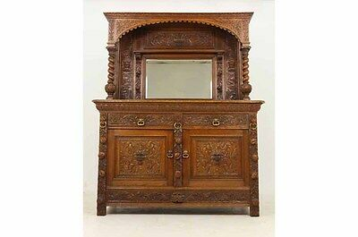 (298-074) Antique Scottish Heavily Carved Oak Mirror Sideboard, Buffet, Server