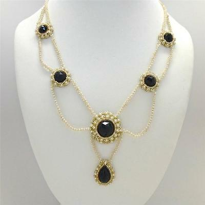 Rare Georgian to Victorian Antique Seed Pearl and Onyx Necklace w/ Rose Gold