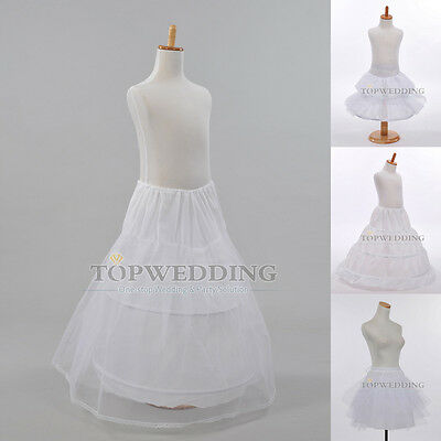 4 Style White Kids Petticoat Bridal Flower Girl Dress Crinoline Underskirts Slip