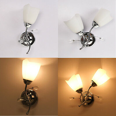 Single/Double Chrome Glass Wall Light Indoor Wall Light Lamp Lights Fittings