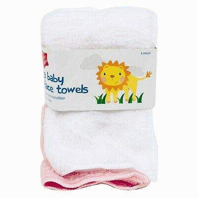 3x Baby Soft Face Towels Toddler Cloth Flannels Feeding Bath Cleaning Nappy