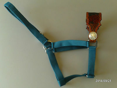 Hand Made Western Rose Carved Bronc Halter Aw Leather Goods