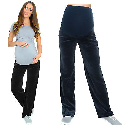 Maternity casual comfortable Yoga Gym Trousers Pants Over Bump 10 12 14 16 Velor