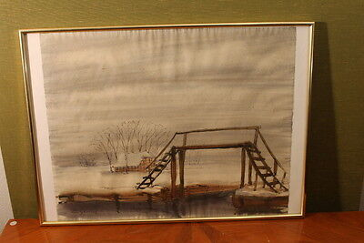 """Richard Sprick(Herford 1901-1968 Bochum)""""Winter in Worpswede """"40 x 60c ,Aquarell"""