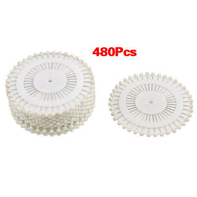 Needlework White Faux PEarl Head Corsage Pins 35mm Long 480 pcs High Quality