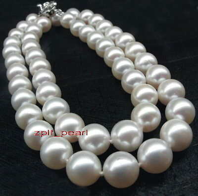 """long NOBLEST AAA 35""""13-14mm Natural real south sea white pearl necklace 14K WG"""