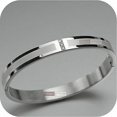 Silver Bangle Mens Boys Womens Stainless Steel Bracelet Brushed Wide Stripe Cz