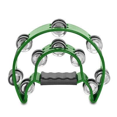 Double Row Jingles Half Moon Musical Tambourine Percussion Drum Green Party KTV