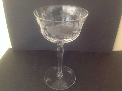 4 Vintage Etched Ribbed Crystal Flared/Floral Print Sherry Wine Cordial Stemware