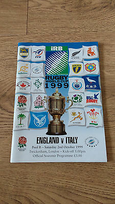 England v Italy 1999 Rugby World Cup Programme