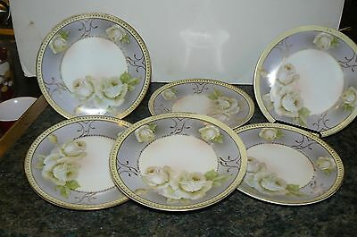 "AUSTRIAN PORCELAIN FRUIT/BREAD PLATES BY ""HUB"" AND DECORATED WITH WHITE ROSES"