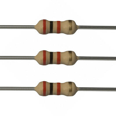 100 x 2k Ohm Carbon Film Resistors - 1/4 Watt - 5% - 2K - Fast USA Shipping