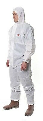 3M 4515 White Disposable Protective Coverall Hooded Boiler suit Type 5/6 -M L XL