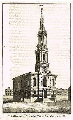 """Cole's - """"THE NORTH WEST VIEW OF ST. GILES CHURCH IN FIELDS""""- Engraving -1753"""