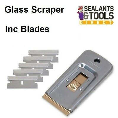 Window Cleaning Glass Scraper With 5 Razor Edge Blades Paint Decal Label Remover