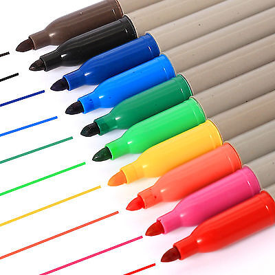 Multi Coloured Permanent Markers Felt Tips Black Scrapbooking Art Pens- 10 Pack