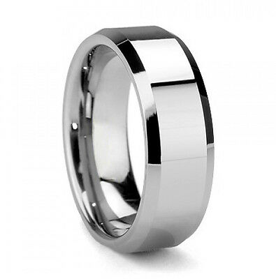 Tungsten Mens Olympus Beveled Edges Silver Wedding Band Ring Never Tarnish M61