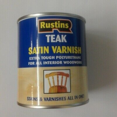 Rustins Polyurethane Varnish - for wood - Colour Choice SATIN finish 250ml