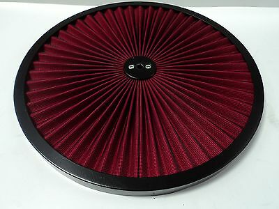 "14"" Round Red Flow Thru Washable Air Cleaner Lid Top Only 350 454 302 347 460"