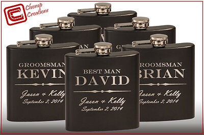 Groomsmen gift - 6 personalized hip flasks - Custom Wedding Bridesmaid Stainless