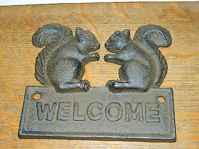 Cast Iron Squirrel Welcome Sign Plaque Building Door Wall Mount Home Garden