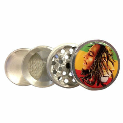 "Bob Marley Lion 2.25"" Kitchen Herb Spice Tobacco Grinder 4 Piece Metal Crusher"