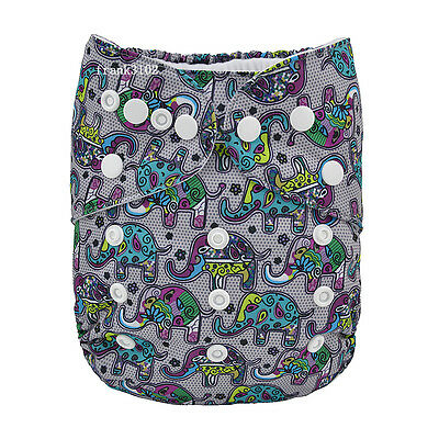 1 Paisley Elephant Baby Cloth Diaper Reusable Washable Adjustable Pocket Cover