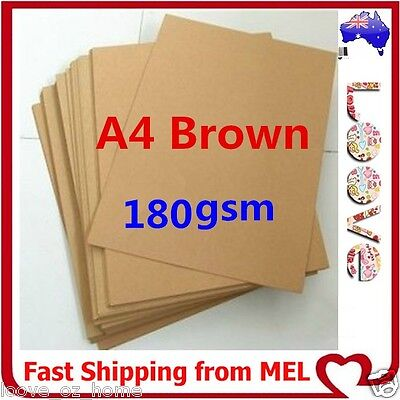 100x A4 180GSM Brown Kraft Paper Sheet Card Natural Recycled Invitation Wedding