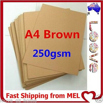 100x A4 250GSM Brown Kraft Thick Paper Sheet Natural Recycled Invitation Wedding