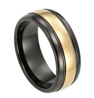Mens Black & Gold Tungsten Carbide 8mm Comfort Fit Wedding Band Ring M62
