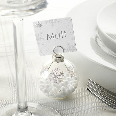 6 x SNOWFLAKE Christmas Bauble Place Name Card Holders  Winter Wedding