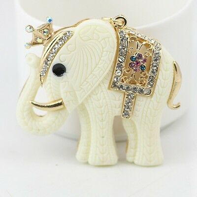 New Crystal Crown White Elephant Keychain Fashion Animal Key Chain Ring Gift