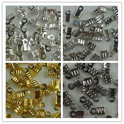 300Pcs Folding Crimp Connector Jewelry Findings Ends  6*3mm