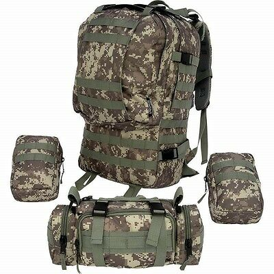 4 pc Digital Camo 600D BACKPACK Bug Out Bag Survival Tactical Military Day Pack