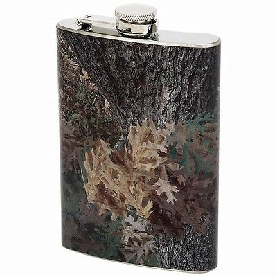 8 oz Camo Wrap FLASK Stainless Steel Hip Pocket Green Camouflage Liquor Hunting
