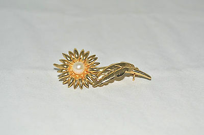 14K Yellow Gold Pearl Sunflower Pin Brooch