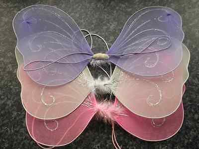 Small fabric fairy butterfly wings hen night childrens fancy dress party elastic