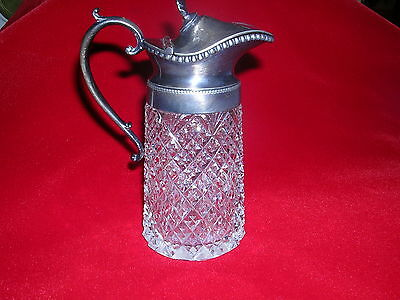 ANTIQUE GLASS AND SILVER PLATE MINIATURE PITCHER WITH HINGED LID