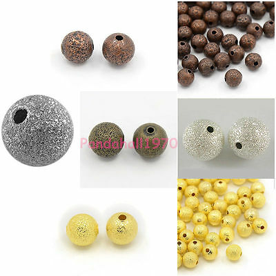 Silver Tone/Antique Bronze/Golden /Red Copper Round Stardust Bead Jewelry Making