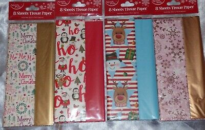 Christmas Tissue Paper Pack Of 10 Sheets Gift Present Wrapping 5 Designs Wrap
