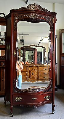 ANTIQUE  MAHOGANY HAND CARVED BOMBAY SIDES ARMOIRE BEVELED MIRROR WARDROBE
