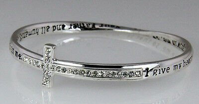 4031142 Prayer Blessing Cross Twisted Solid Bangle Stackable Religious Bible