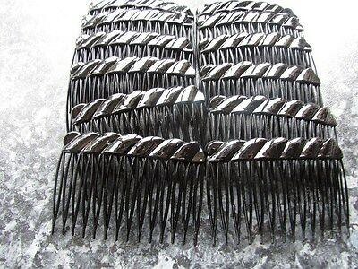 pack 12 black budget plastic plain hair slides clear brown combs 7cm comb grips