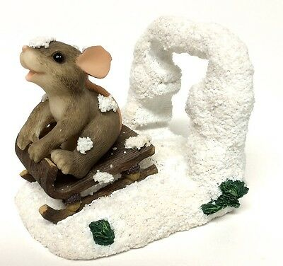 Charming Tails Figurine Dashing Through The Snow Mouse On Sled Fitz & Floyd
