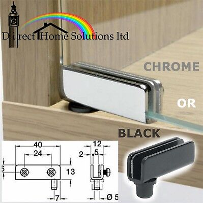 2 GLASS DOOR PIVOT HINGES 110º CHROME OR BLACK (2=Pair) For Cabinet Inset Door