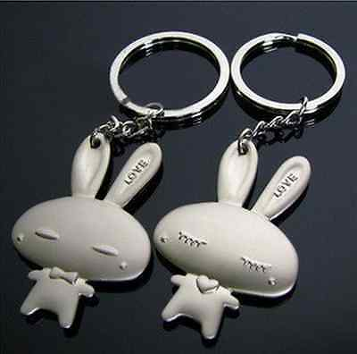 2Pcs Couple Cute LOVE Rabbit  Keychain Ring Key Chain Pendant ~ Free Shipping