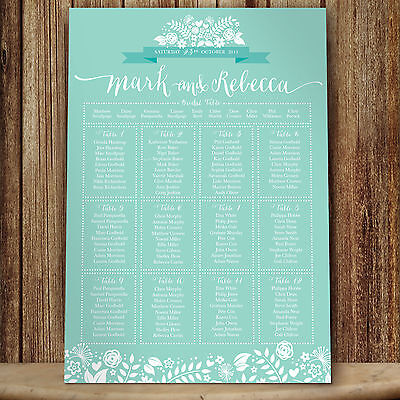 Personalised 2Hearts Design Wedding Seating Table Plan ~Canvas~Board~Paper