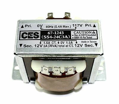 Power Transformer, 117VAC -> 24VAC Center Tap (12_0_12), 3A ( 28N091 )