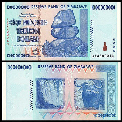 Zimbabwe 100 TRILLION Dollars AA 2008 Pick-91 UNC Shipping from CANADA